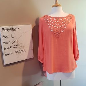 Salmon colored beaded flowy top